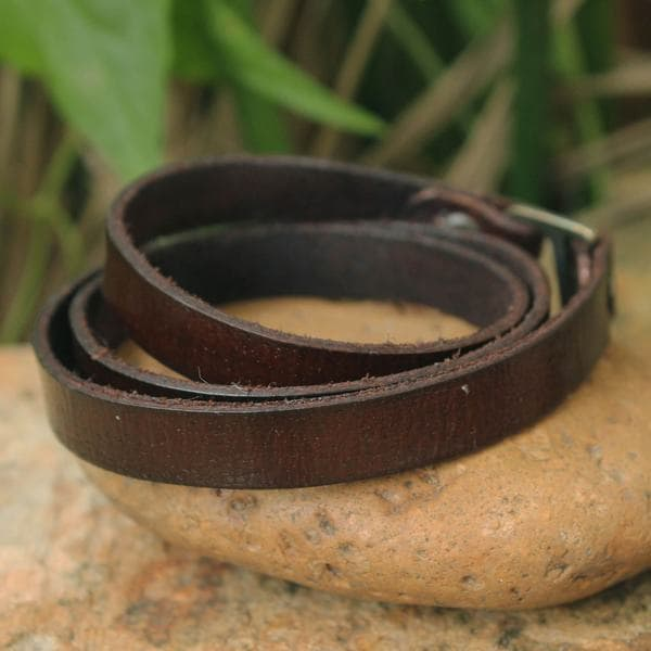 Handcrafted Leather 'Enigma in Brown' Bracelet (Thailand)