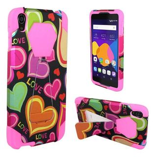 Insten Black/ Hot Pink Multi Hearts Hard PC/ Silicone Dual Layer Hybrid Case Cover with Stand For Alcatel One Touch Idol 3 (5.5)