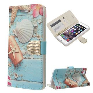 Insten Blue/ White Beach Leather Case Cover with Stand/ Wallet Pouch/ Diamond/ Photo Display For Apple iPhone 6 Plus/ 6s Plus
