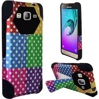 Insten Colorful/ Black Polka Dots Hard PC/ Silicone Dual Layer Hybrid Case Cover with Stand For Samsung Galaxy J3