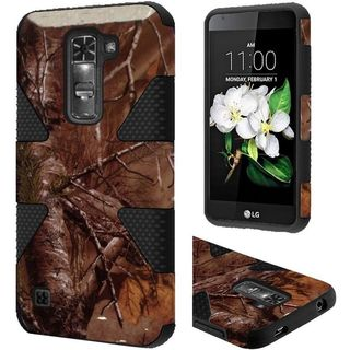 Insten Brown/ Black Camouflage Dynamic Hard PC/ Silicone Dual Layer Hybrid Rubberized Matte Case Cover For LG K7