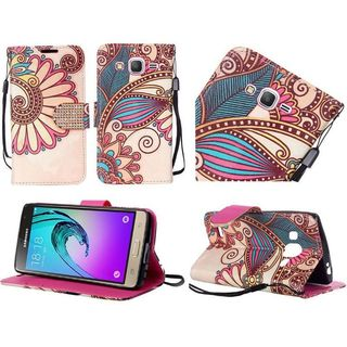 Insten Yellow Antique Flower Leather Case Cover Lanyard with Stand/Diamond For Samsung Galaxy J3