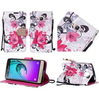 Insten Purple/ White Lily Leather Case Cover Lanyard with Stand/Diamond For Samsung Galaxy J3