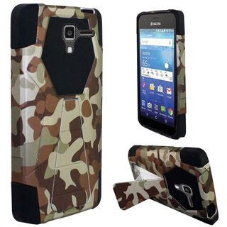 Insten Camouflage Hard PC/ Silicone Dual Layer Hybrid Case Cover with Stand For Kyocera Hydro View