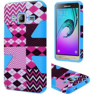 Insten Chervon Dynamic Hard PC/ Silicone Dual Layer Hybrid Rubberized Matte Case Cover For Samsung Galaxy J3