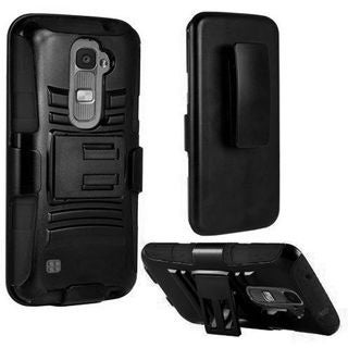 Insten Hard PC/ Silicone Dual Layer Hybrid Case Cover with Holster For LG K7