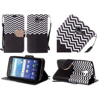 Insten Chervon Leather Case Cover Lanyard with Stand/Diamond For Kyocera Hydro View