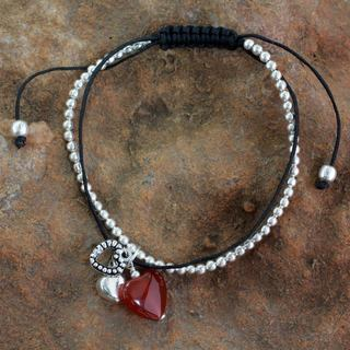 Handcrafted Sterling Silver 'Love Charm' Carnelian Bracelet (India)