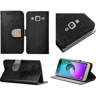Insten Leather Glitter Case Cover with Stand/Diamond For Samsung Galaxy J3