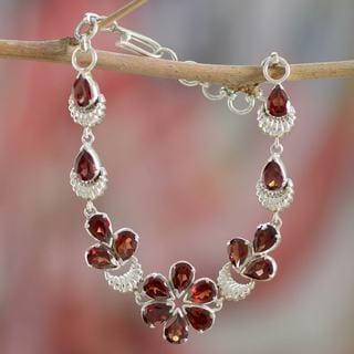 Handcrafted Sterling Silver 'Cherry Blossom' Garnet Bracelet (India)