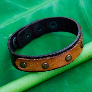 Handcrafted Leather 'Exotic Rustic' Bracelet (Thailand)
