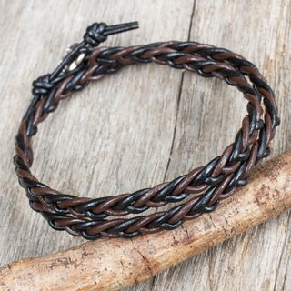 Handcrafted Silver Accent Leather 'Shadow Paths' Bracelet (Thailand)