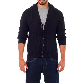 Men's Alpaca Blend 'Jirishanca in Black' Cardigan (Peru)