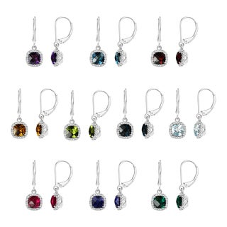 Sterling Silver Checkerboard Cushion Gemstone Leverback Dangle Earrings