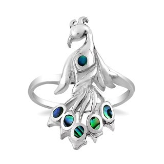 Graceful Rainbow Peacock Stone Inlay Sterling Silver Ring (Thailand)