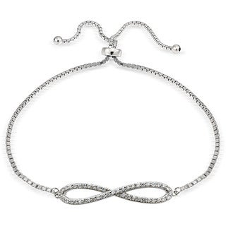 Icz Stonez Silver Cubic Zirconia Infinity Adjustable Bolo Bracelet