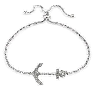 Icz Stonez Silver Cubic Zirconia Anchor Adjustable Bolo Bracelet