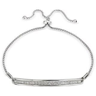 Icz Stonez Silver Cubic Zirconia Bar Adjustable Bolo Bracelet