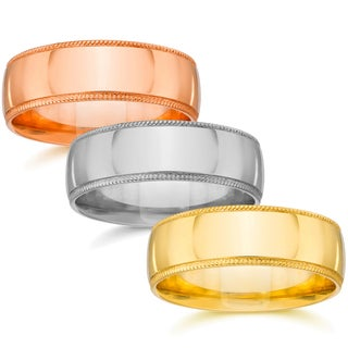 14k White Yellow And Rose Gold 7mm Plain Milgrain Wedding Band