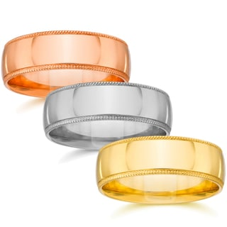 Bliss 14k White Yellow or Rose Gold Men's 6mm Plain Milgrain Wedding Band