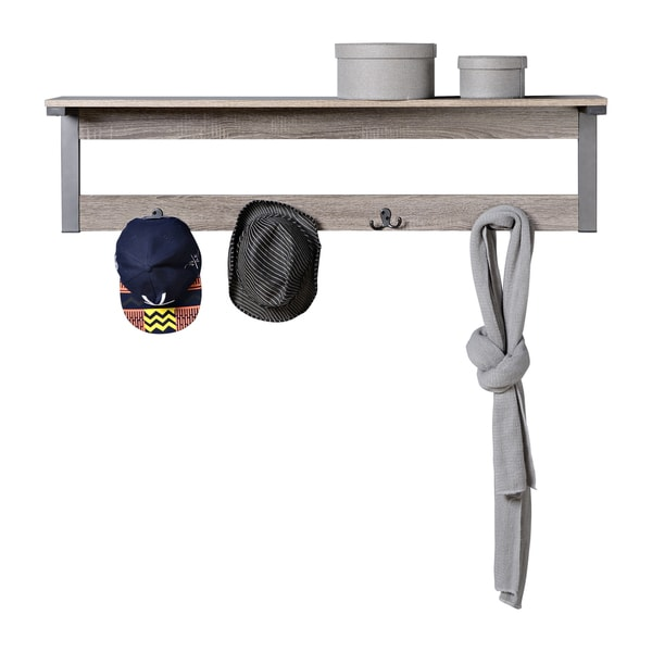 Homestar Wall Mounted Shelf with 4 Hooks