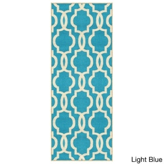 "Fancy Moroccan Trellis Non-Slip Runner Rug Rubber Backed (22"" x 4')"