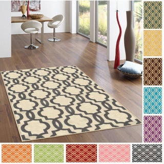 "Fancy Moroccan Trellis Non-Slip Area Rug Rubber Backed (3'4"" x 5')"