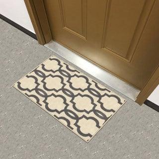 """Fancy Moroccan Trellis Non-Slip Doormat Accent Rug Rubber Backed (18"""" x 31"""")"""