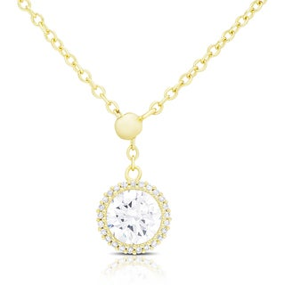 Dolce Giavonna Gold Over Silver or Sterling Silver Cubic Zirconia Circle Adjustable Necklace