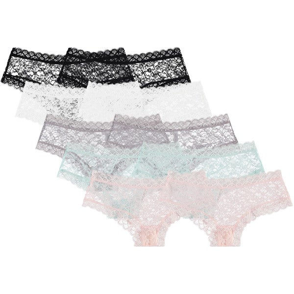 Free to Live Women's Trimmed Lace Boy Short Panties (Pack of 10)