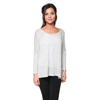 Free to Live Women's Striped Side Slit Lightweight Sweater Top