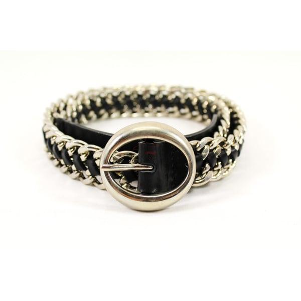 Orciani Black Leather Women's 32-inch Belt