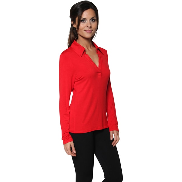 Free to Live Women's Polo Johnny Collar V-Neck Long Sleeve Casual Top