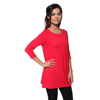 Free to Live Women's Extra Long Flowy Elbow Sleeve Jersey Tunic