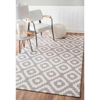 nuLOOM Handmade Wool Pixel Trellis Grey Rug (8'6 x 11'6)