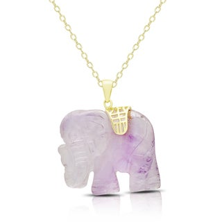 Dolce Giavonna Gold Over Silver Carved Dyed Lavender Jade Elephant Necklace