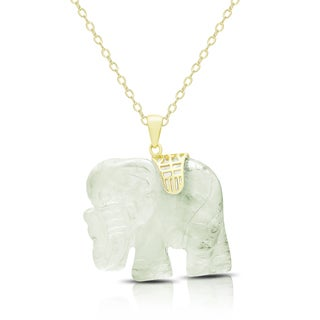 Dolce Giavonna Gold Over Silver Carved New Jade Elephant Necklace