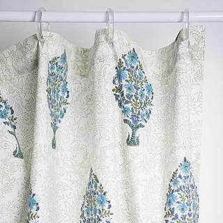 Elegant Motifs Teal Trees Shower Curtain (India)