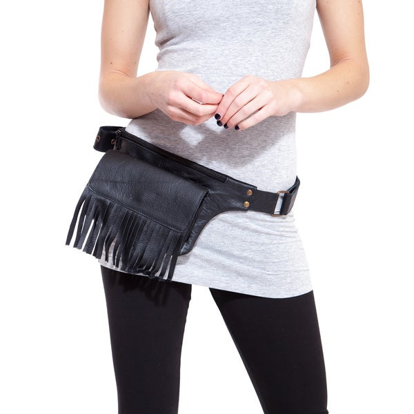 The Fringed Ranger Leather Square Pack Hip Bag Belt (India)