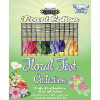 Sullivans Size 5 Pearl Cotton Pack 15yd 12/Pkg - Floral Fest
