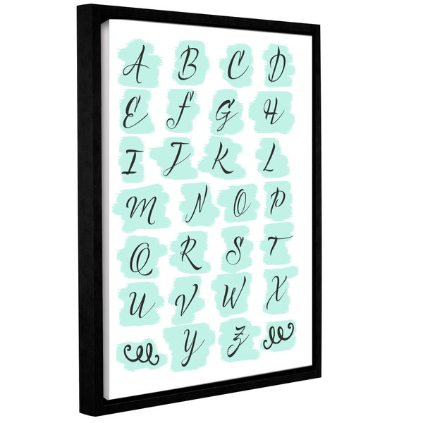 Tara moss's 'Teal Alphabet' Gallery Wrapped Floater-framed Canvas