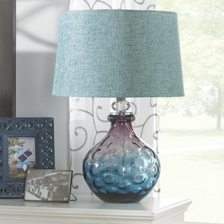 INSPIRE Q Emmalyn Purple Turquoise Glass Lamp