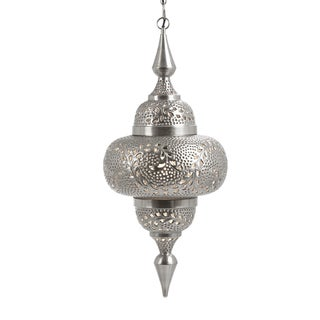 Handcrafted Hanging Chain Openwork Nickel Pendant Ceiling Lamp