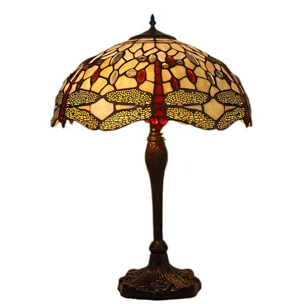Akira 2-light Dragonfly 16-inch Yellow Tiffany-style Table Lamp 17802180