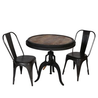 Wanderloot Reclaimed Wood Adjustable Height Crank Industrial Bar Table (India)