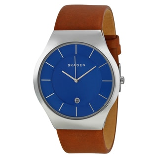 Skagen Men's Brown Leather Grenen Blue Dial Watch
