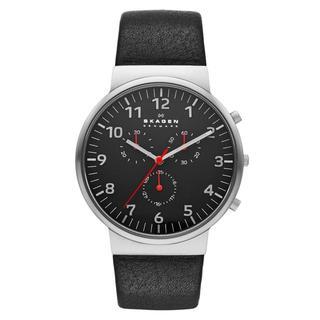 Skagen Men's Black Leather Chronograph Dial Watch