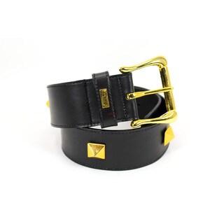 Gianmarco Venturi Black Leather Women's 32-inch Belt