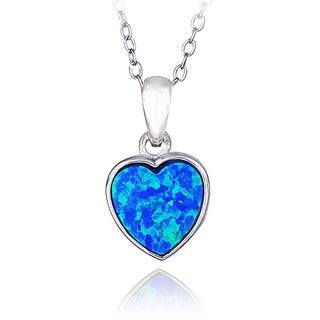 Glitzy Rocks Sterling Silver Created Opal Heart Necklace