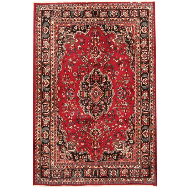Herat Oriental Persian Hand-knotted 1960s Semi-antique Mashad Wool Rug (6'8 x 10') 17802731